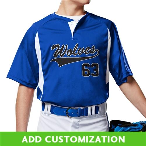 Adult 3X-Large Royal,White,Graphite CHAMPRO Bull Pen Full Button Polyester Baseball Jersey